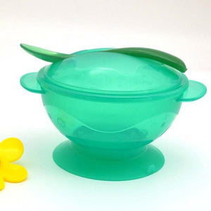 Baby Dinnerware Sets - Non-Slip Suction Cup Bowls + Spoons Set - Microwave Safe