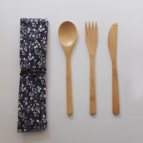 Bamboo Wooden Cutlery Set Reusable Kitchen Dinnerware With Bag