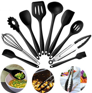 Cooking Utensil Set - 10 Pcs Non-Stick Silicone Kitchen Utensil Set Tong, Spoon, Spatula & More