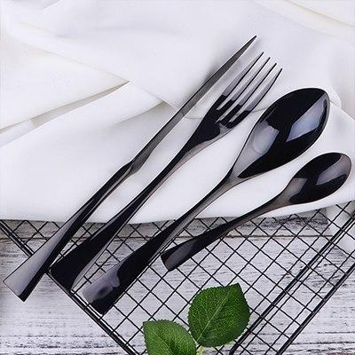 Image of Dinnerware - 16PCS Sets - Heavy Stainless Steel Hotel Tableware Sets - Multiple Colors
