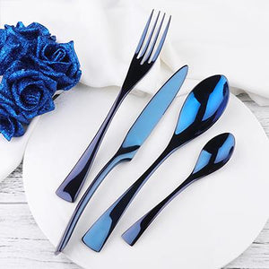 Dinnerware - 16PCS Sets - Heavy Stainless Steel Hotel Tableware Sets - Multiple Colors