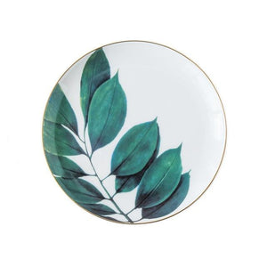 Dinnerware - 1pc European Rainforest Ceramic Plate Handcraft Leaf Gold Inlay Porcelain Serving Platter Steak Plates Dishes Home Kitchen Deco