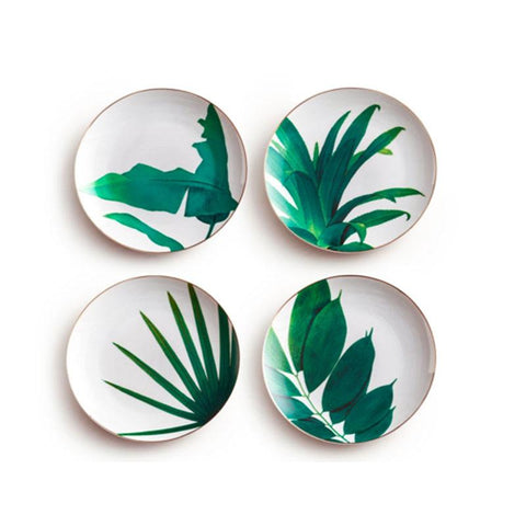 Image of Dinnerware - 1pc European Rainforest Ceramic Plate Handcraft Leaf Gold Inlay Porcelain Serving Platter Steak Plates Dishes Home Kitchen Deco