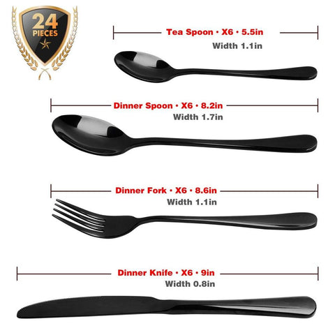 Dinnerware - 24 PCS Dinnerware Set Black Gold Stainless Steel Flatware Sets Tableware Cutlery Spoon Set Party Supplies Kitchen Wood Gift Box