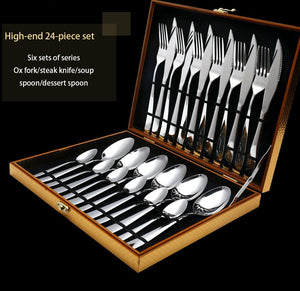 Dinnerware - 24 Pcs/set Pure Solid Stainless Steel Cutlery Tableware Dinner Set
