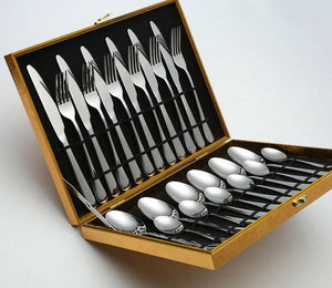 24 Pcs/set Pure Solid Stainless Steel Cutlery Tableware Dinner Set