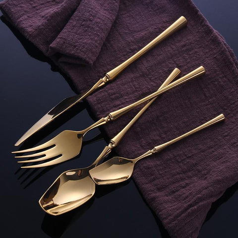 Image of Dinnerware - 24 Pcs Stainless Steel Golden Dinnerware Set