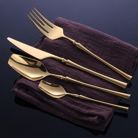 Dinnerware - 24 Pcs Stainless Steel Golden Dinnerware Set