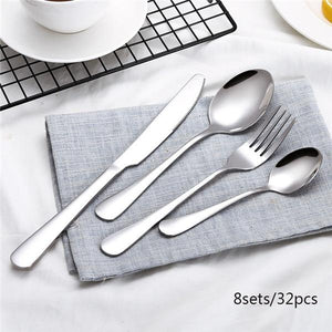 Dinnerware - 24Pcs/set Black Stainless Steel Dinnerware