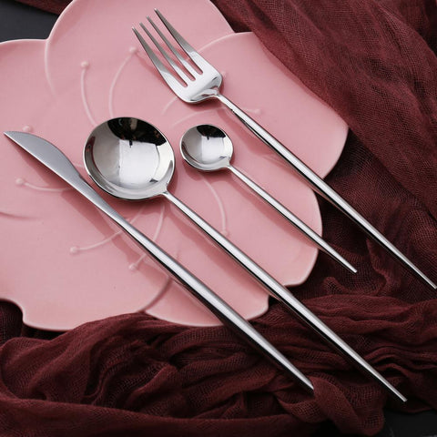 Dinnerware - 4 Pcs/set Silver Color Stainless Steel Dinnerware Set