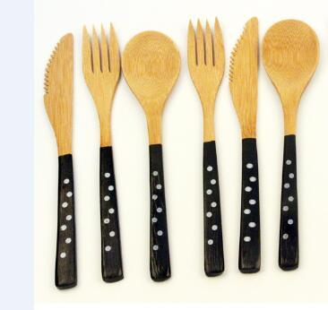 Image of Dinnerware - Bamboo Creative Kitchen Utensils Tableware Set Black / White Dot