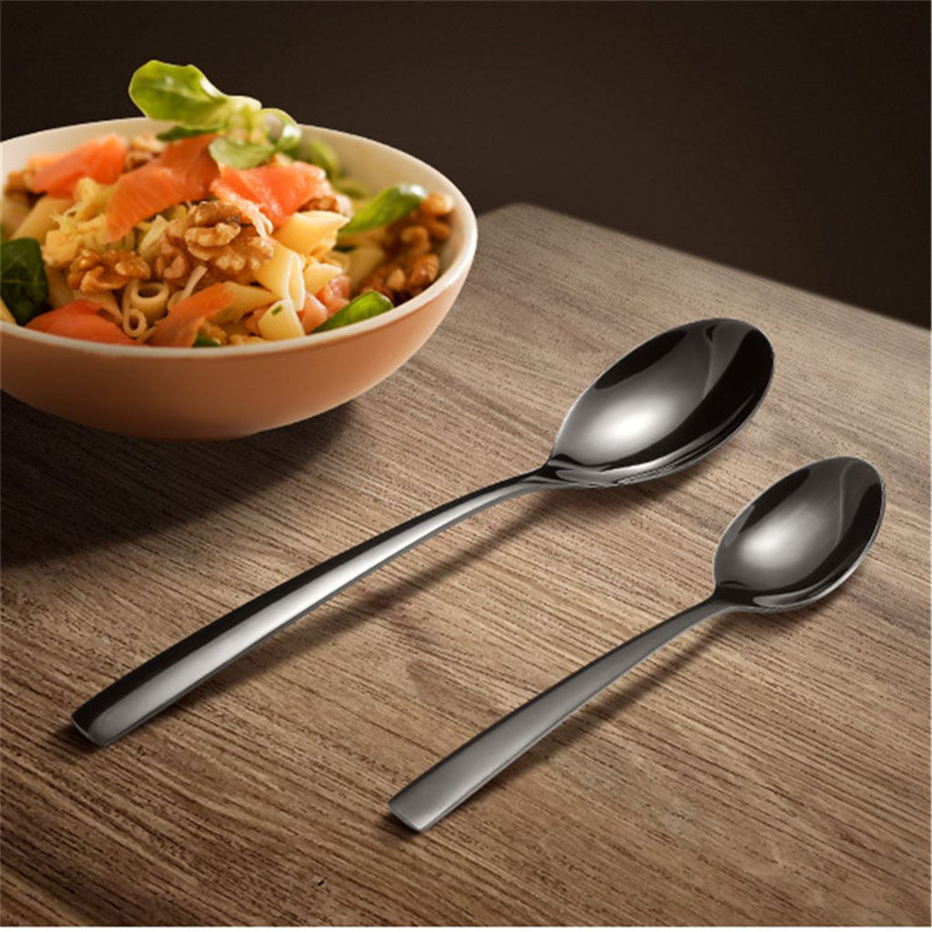 Dinnerware - Black 4Pc Stainless Steel Dinnerware Set Fork/ Knife/ Spoon/ Dessert Spoon