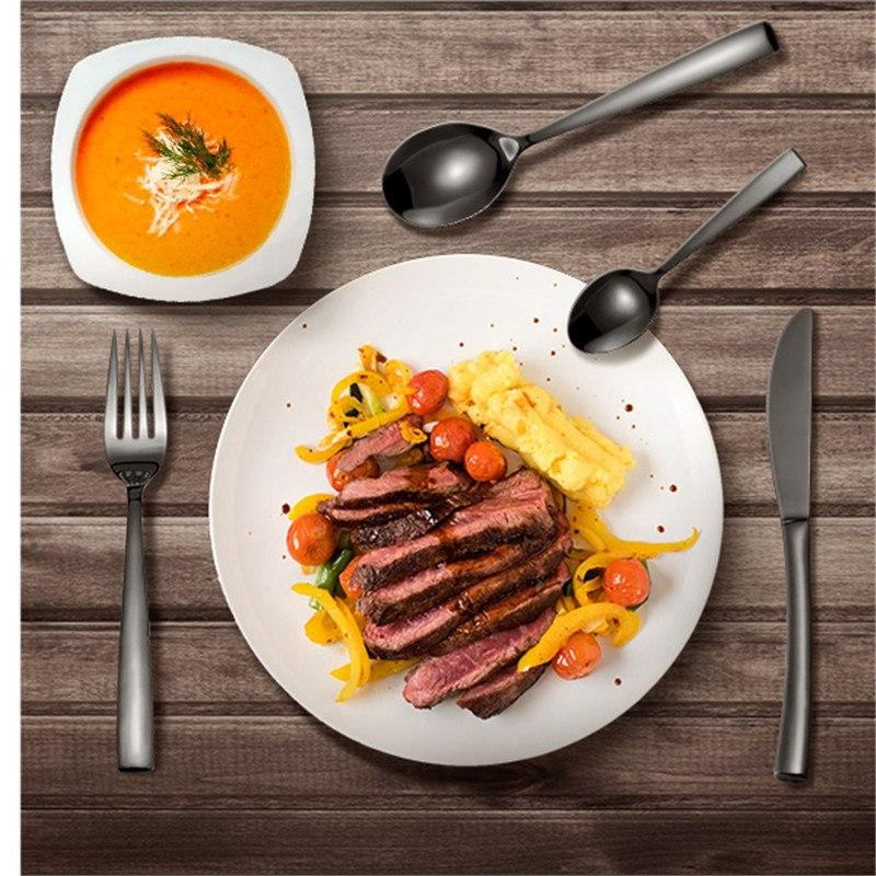 Image of Dinnerware - Black 4Pc Stainless Steel Dinnerware Set Fork/ Knife/ Spoon/ Dessert Spoon