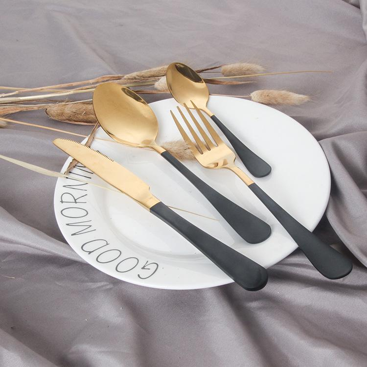 Image of Dinnerware - Black And Gold Stainless Steel Dinnerware Set 4pcs