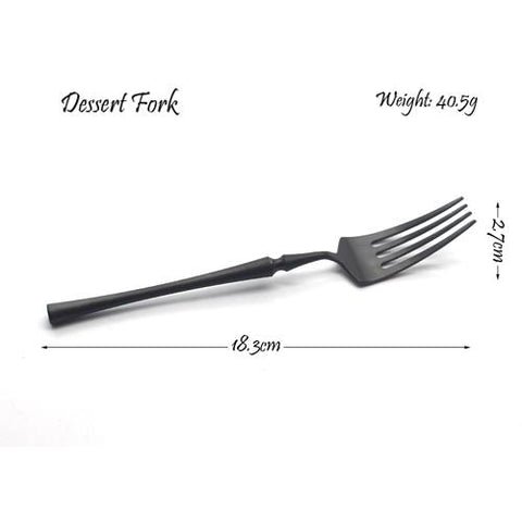 Image of Dinnerware - Black Cutlery Dinnerware Set Stainless Steel Tableware