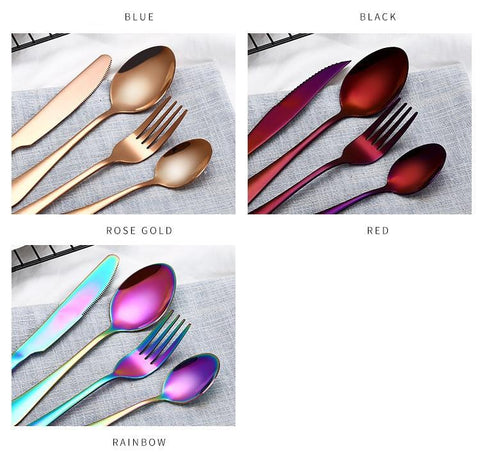 Image of Dinnerware - Black / Gold/ Silver/ Blue/ Multi Colored Choices - Cutlery Set