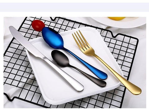 Dinnerware - Black / Gold/ Silver/ Blue/ Multi Colored Choices - Cutlery Set