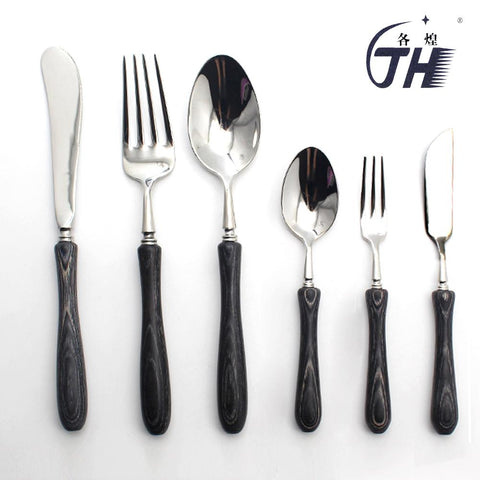 Image of Dinnerware - Black Stainless Steel Dinnerware Cutlery Set W/ Japanese Black Wood