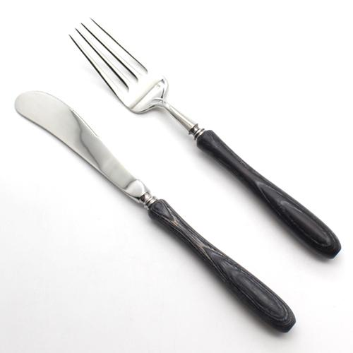 Dinnerware - Black Stainless Steel Dinnerware Cutlery Set W/ Japanese Black Wood