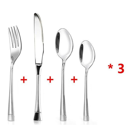 Dinnerware - Cutlery Flatware Set W/ Matte Handle Stainless Steel