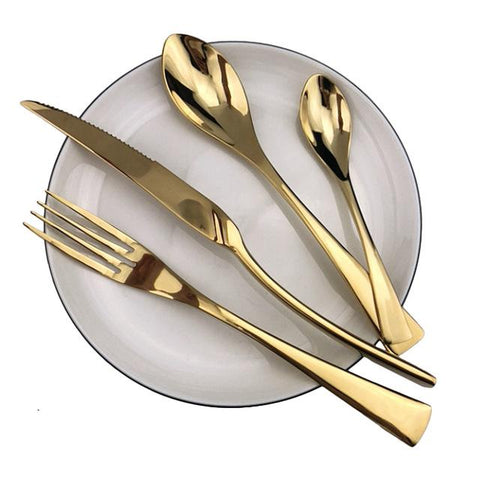 Image of Dinnerware - Flatware Cutlery Set 18/10 Stainless Steel (Multiple Colors Options)