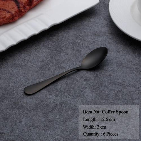 Image of Dinnerware - Hot Sale Black Dinnerware Set Stainless Steel Set Spoons Forks Knives