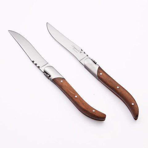 Image of Dinnerware - Laguiole Style Steak Knives Olive Wood Handle Stainless Steel Dinner Knife 8.25''