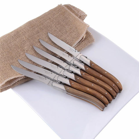 Dinnerware - Laguiole Style Steak Knives Olive Wood Handle Stainless Steel Dinner Knife 8.25''