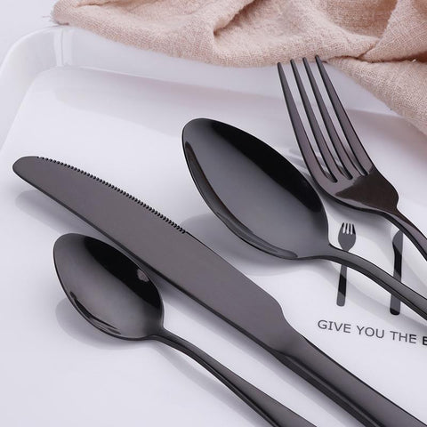 Image of Dinnerware - Luxury Black Flatware Set 24Pcs Sets - Stainless Steel Restaurant Flatware