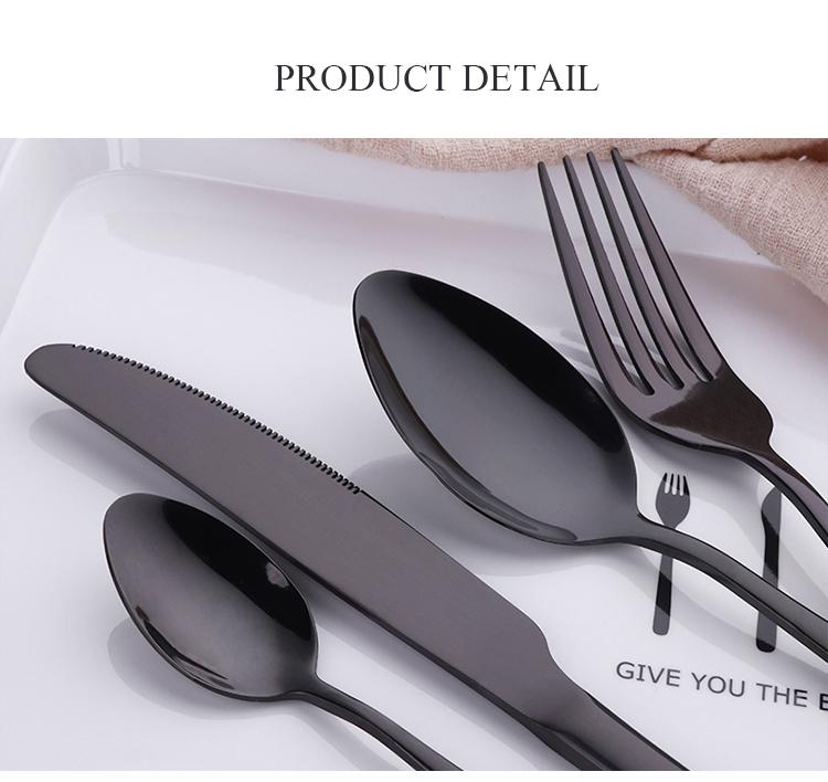 Dinnerware - Luxury Black Flatware Set 24Pcs Sets - Stainless Steel Restaurant Flatware