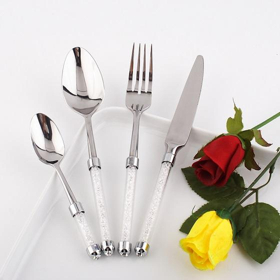 Image of Dinnerware - Luxury Dinnerware Set 4pcs Stainless Steel Set Knife/Fork With Crystal Stem