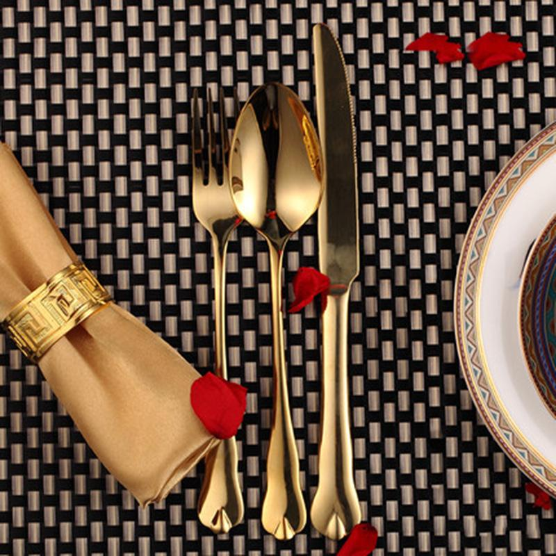 Dinnerware - Luxury Gold Cutlery Set Stainless Steel Dinnerware Set 3 Pieces