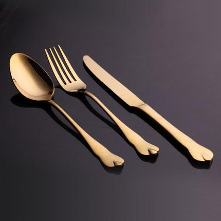 Image of Dinnerware - Luxury Gold Cutlery Set Stainless Steel Dinnerware Set 3 Pieces