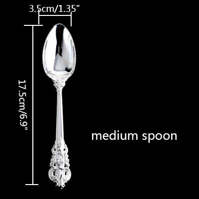 Image of Dinnerware - Luxury Silverware Dinnerware Set Steak Knife, Fork, Coffee Teaspoon, Spoon