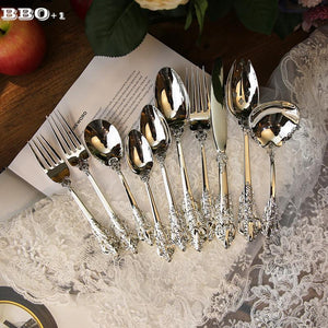 Dinnerware - Luxury Silverware Dinnerware Set Steak Knife, Fork, Coffee Teaspoon, Spoon