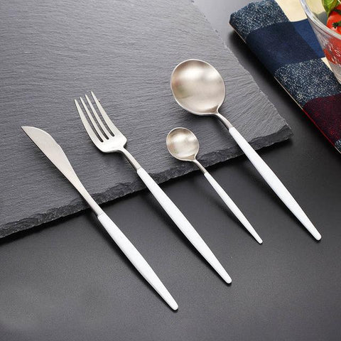 Dinnerware - New  Stainless Steel Rose Gold Dinnerware Set 4pcs/ Tableware Dinner Set
