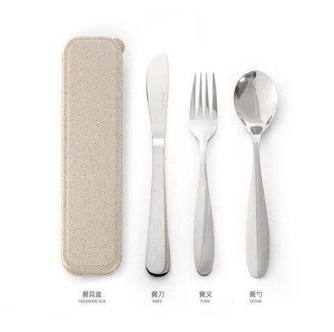 Image of Dinnerware - Portable Picnic Camping Dinnerware Set Sliver Stainless Steel Travel Cutlery Set