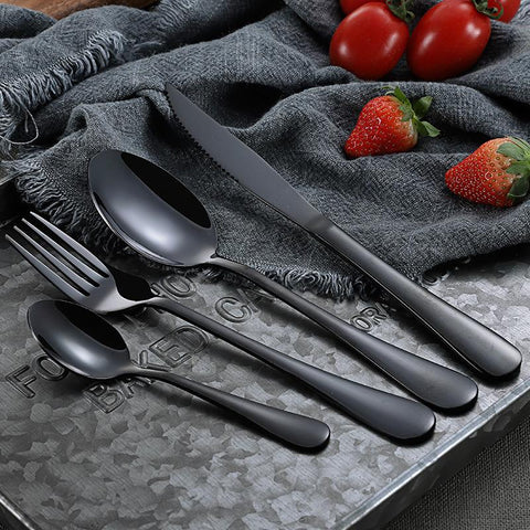 Dinnerware - Steel Black Cutlery Set Dinnerware Set - Great Set