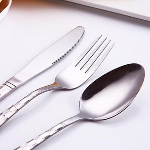 Dinnerware - Upscale Stainless Steel 4PC/Set Dinnerware Knife/Fork/Spoon/Dessert Spoon Set