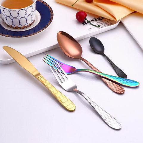 Image of Dinnerware - Upscale Stainless Steel 4PC/Set Dinnerware Knife/Fork/Spoon/Dessert Spoon Set