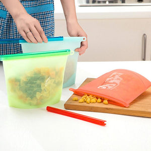 Food Storage - Reusable Silicone Vacuum Food Fresh Bags Wraps Food For Fridge Storage - Food Containers