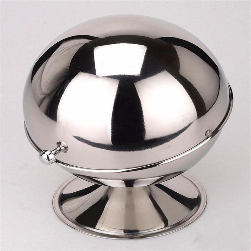 Food Storage - Sugar Bowl Spherical Stainless Steel Kitchen Spice Bottle Flip