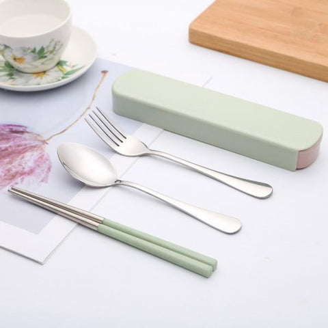 High Quality Portable Two-piece Cutlery Knife Fork Box Lunch Set