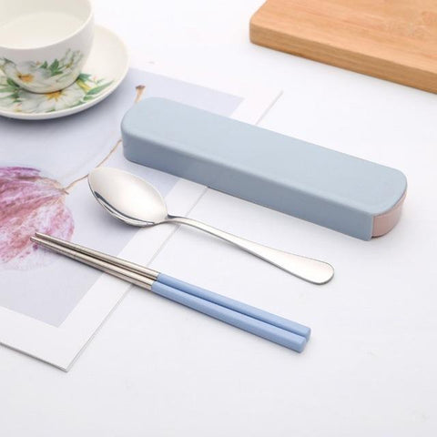 Image of High Quality Portable Two-piece Cutlery Knife Fork Box Lunch Set