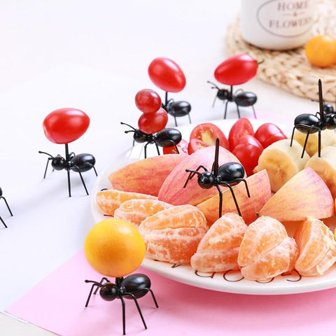 Image of Kitchen Gadget - 12Pc Kitchen Mini Ant Fruit Fork Plastic Fruit Decoration