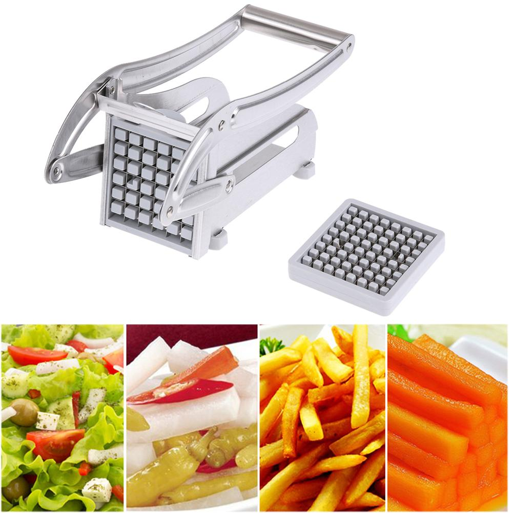 Kitchen Gadget - 2 Blade Stainless Steel French Fries Potato Chips Strip Cutting Machine