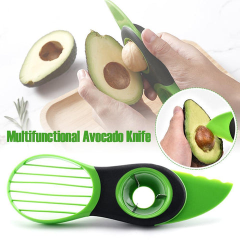 Image of Kitchen Gadget - 3-in-1 Avocado Slicer Fruit Cutter Home Kitchen Tools