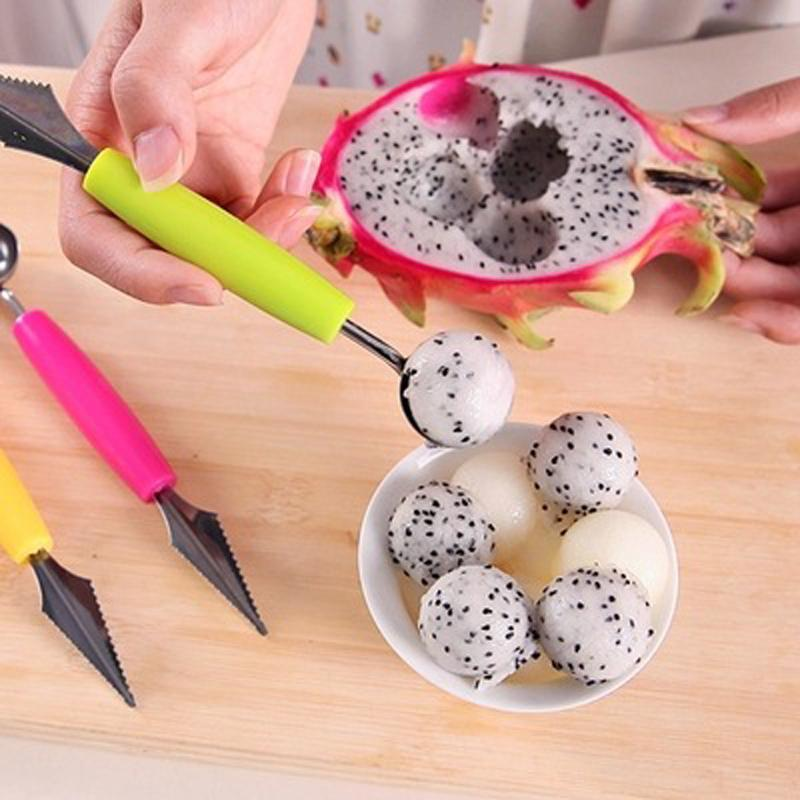 Kitchen Gadget - Fashion Multi Function Stainless Steel Fruit Carving Ice Cream Scoop