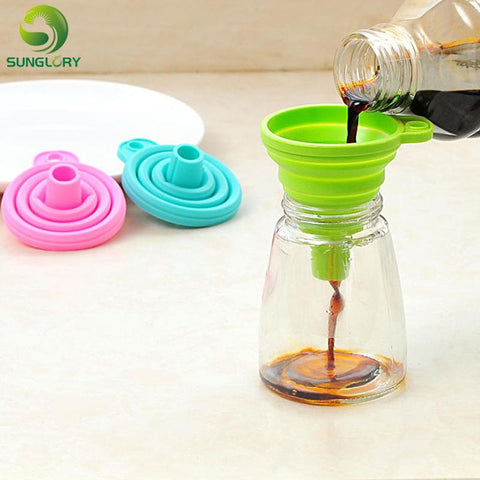 Image of Kitchen Gadget - Mini Silicone Foldable Silicone Funnel Collapsible Style Funnel