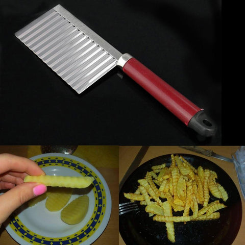 Kitchen Gadget - Potato Wavy Edged Stainless Steel Crinkle Cutting